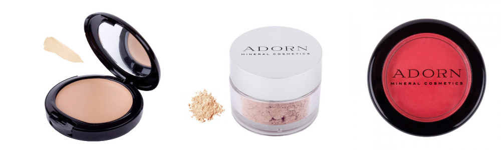 Adorn cosmetics mineral cream foundation $60, Adorn cosmetics mineral powder foundation $50, Adorn cosmetics mineral cream blush $40